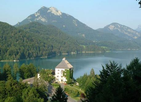 Fuschlsee, very natural, here Schloss Fuschl, our favorite lake for swimming, hiking around on a picturesque path