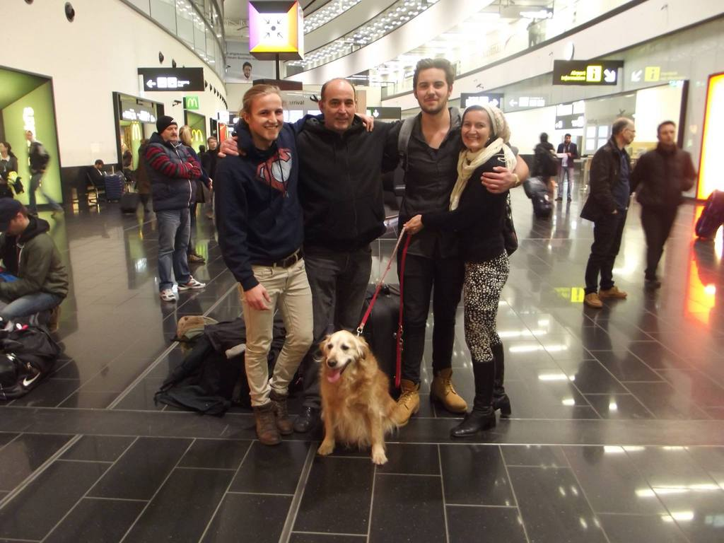 Family reunion on December 24, 2014 at the airport in Vienna