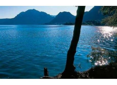 Lake Attersee in the Salzkammergut district with crystal-clear, drinking water quality