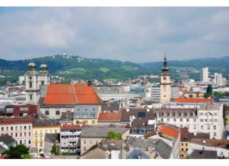 "Linz-view from the ""Höhenrausch"" (path over the roofs of Linz)"