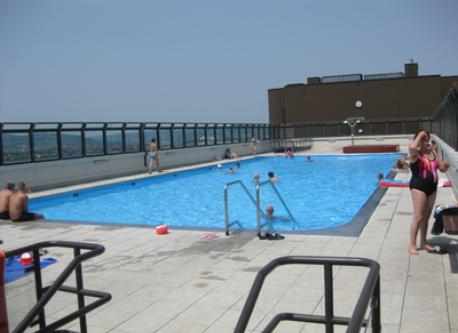 the pool on the top of the building