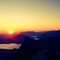 sunrise with view to lake Mondsee and the Schafberg mountain