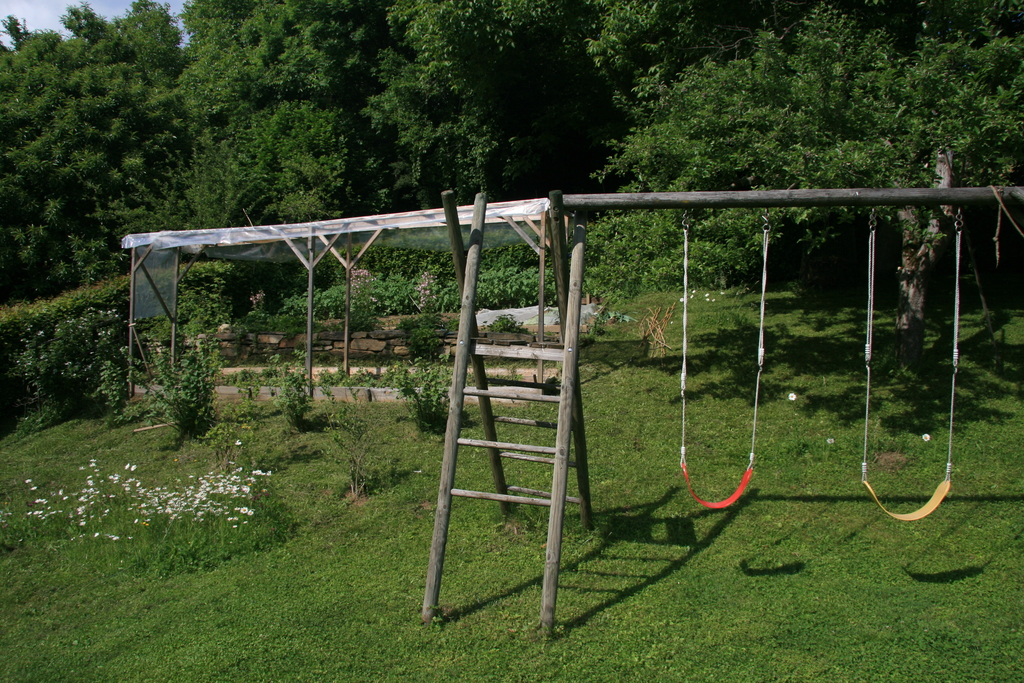 swing and vegetable garden