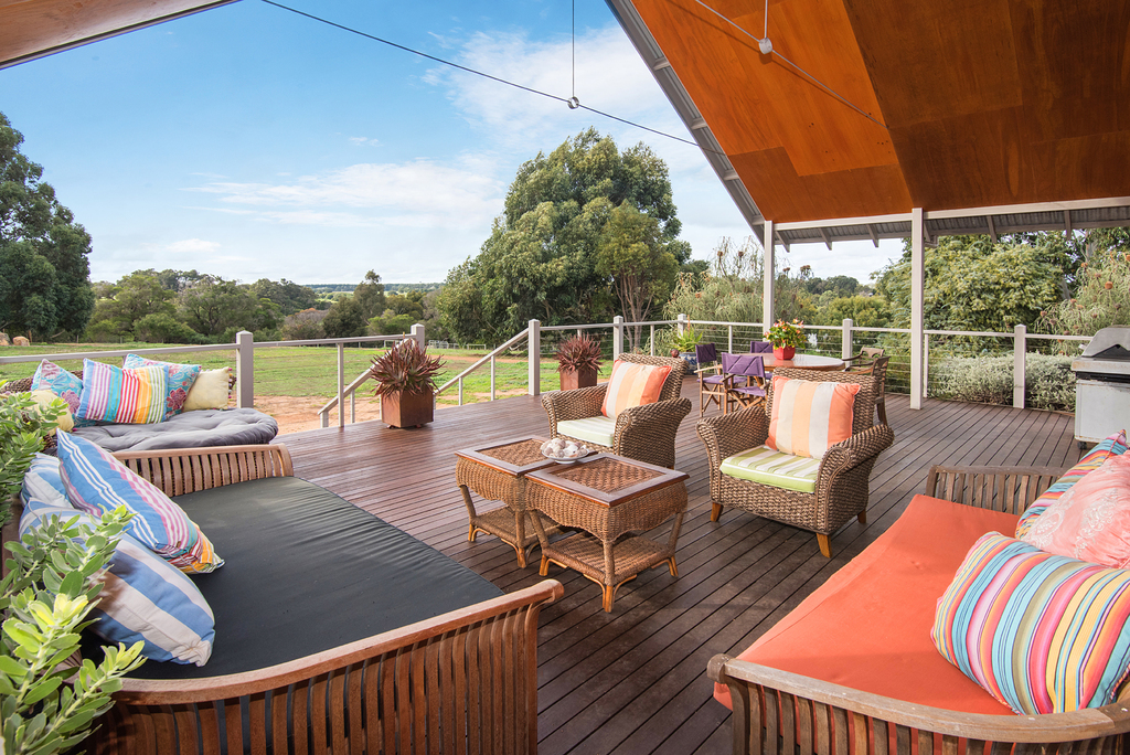 Large deck overlooking the property