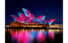 Opera House during Vivid Festival not unfortunately a view from our house!