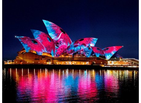 Opera House during Vivid Festival unfortunately not a view from our house!