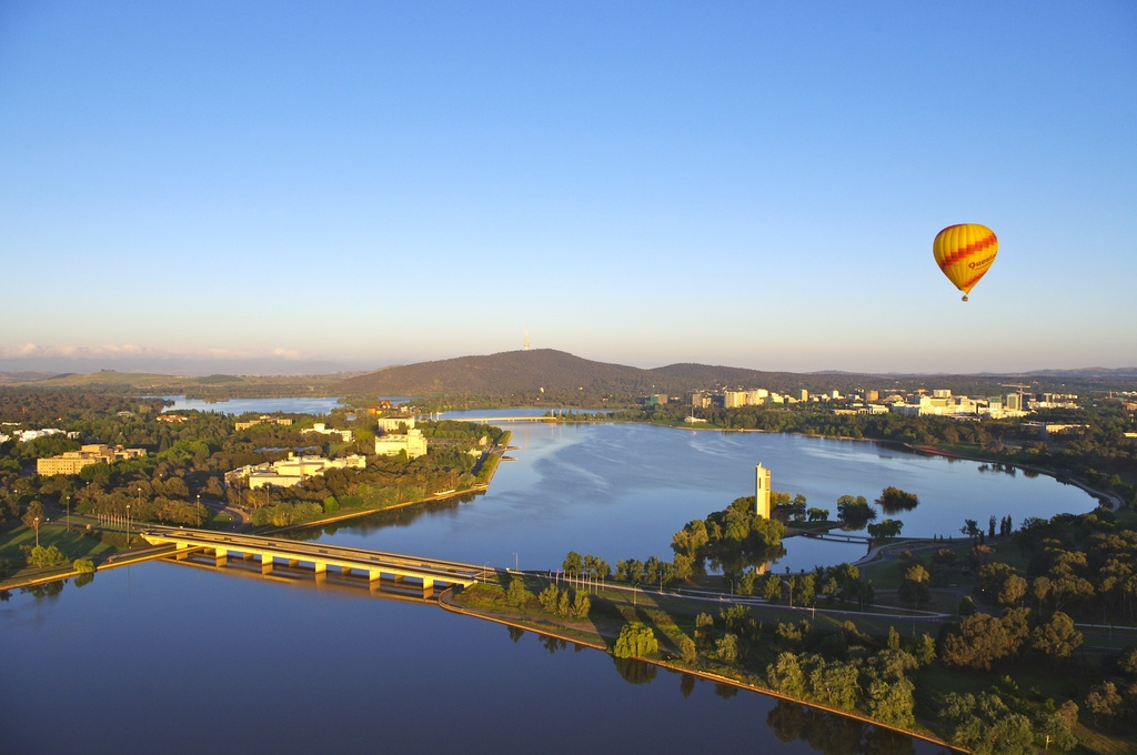 Canberra from a hot air balloon