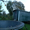 At the back of the garden our gipsywagon and the huge trampoline.