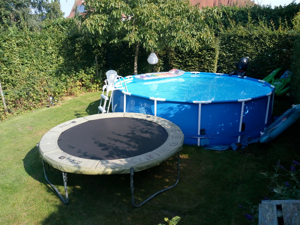 swimming pool and trampoline