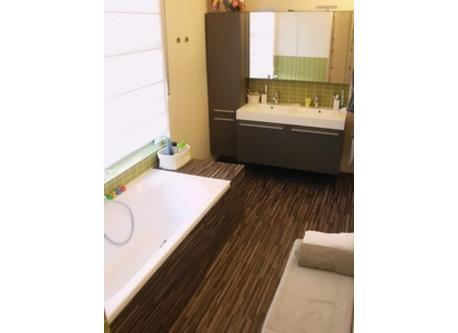 the large bathroom on first floor with bathtub & shower
