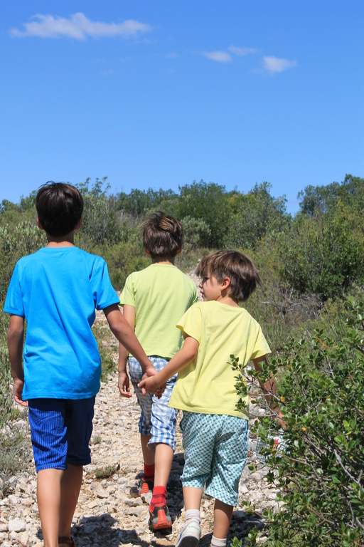 Brothers, a few years ago, walking hand in hand