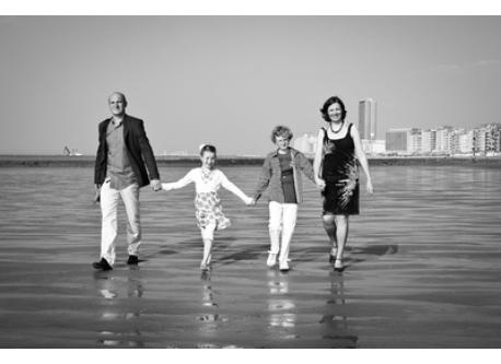 the 4 of us at the beach of Ostend (2011), 15 minutes from Westende