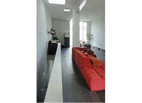 big sitting area + kitchen in loft style