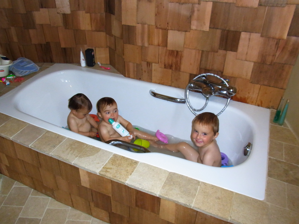 Our bathroom with 3 little monsters
