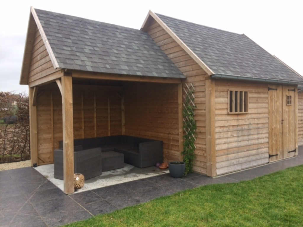 Garden shed with lounge set.