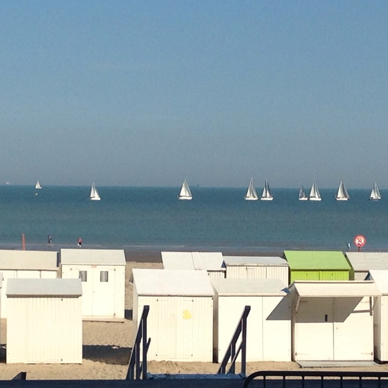 Summer view of North sea (cabins only there in summer time)