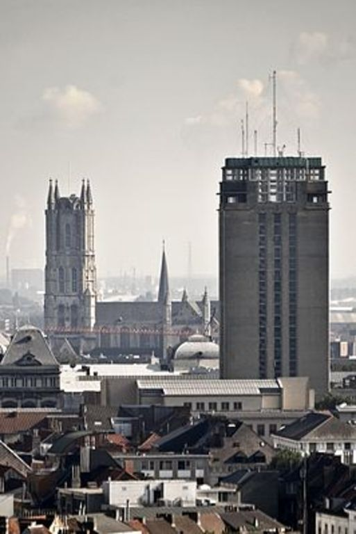 Sint-Baafscathedral and book tower of Ghent University, designed by Henry Van de Velde - Ghent