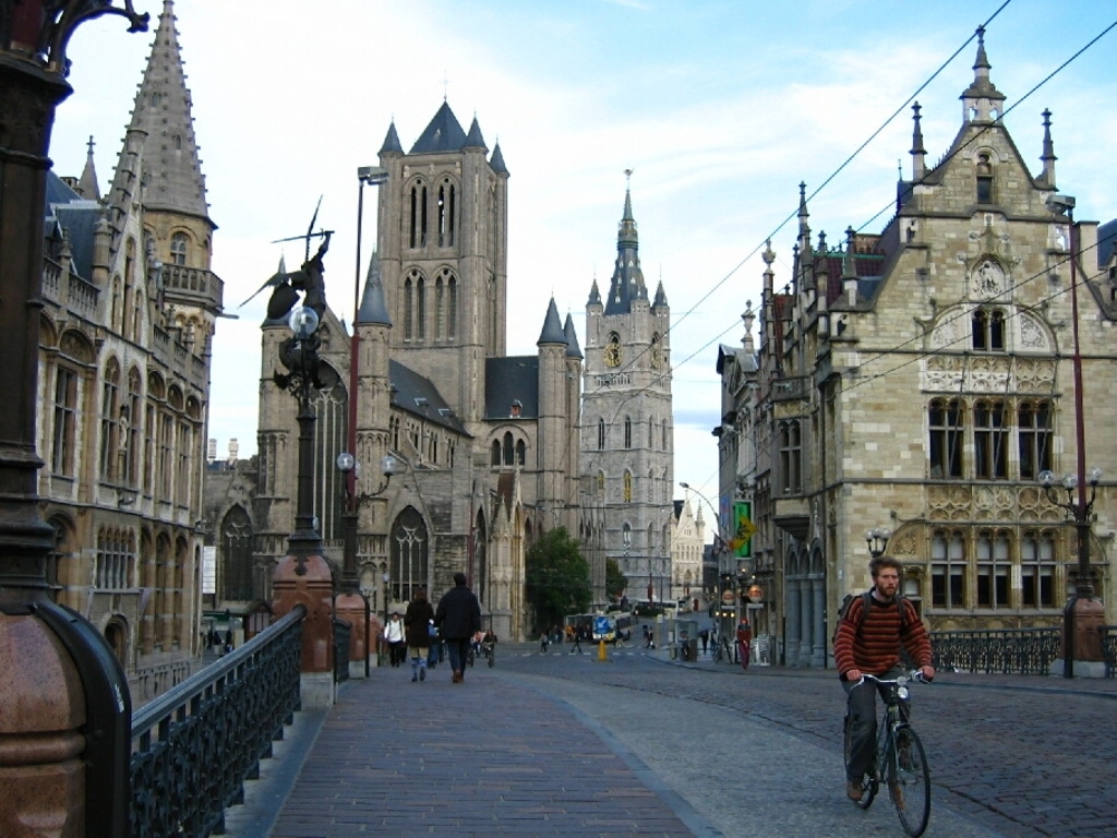 Saint Michael's Bridge, view of the tower of Saint Nicolas'church and the Belfry - Ghent