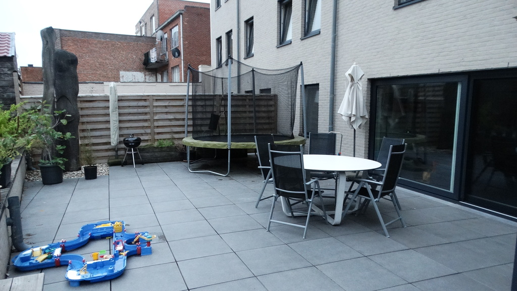 Terrace with trampoline