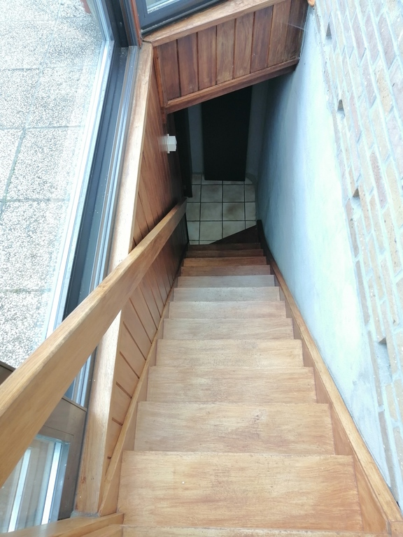 the stairs to the basement