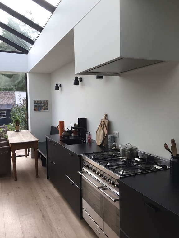 We have added a contemporary extension to the house with a modern kitchen and built-in laundry room.