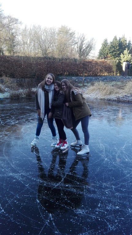 ice skating on our pond