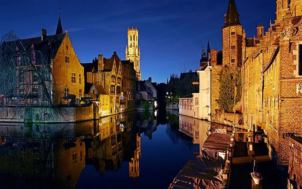 Bruges center in the evening