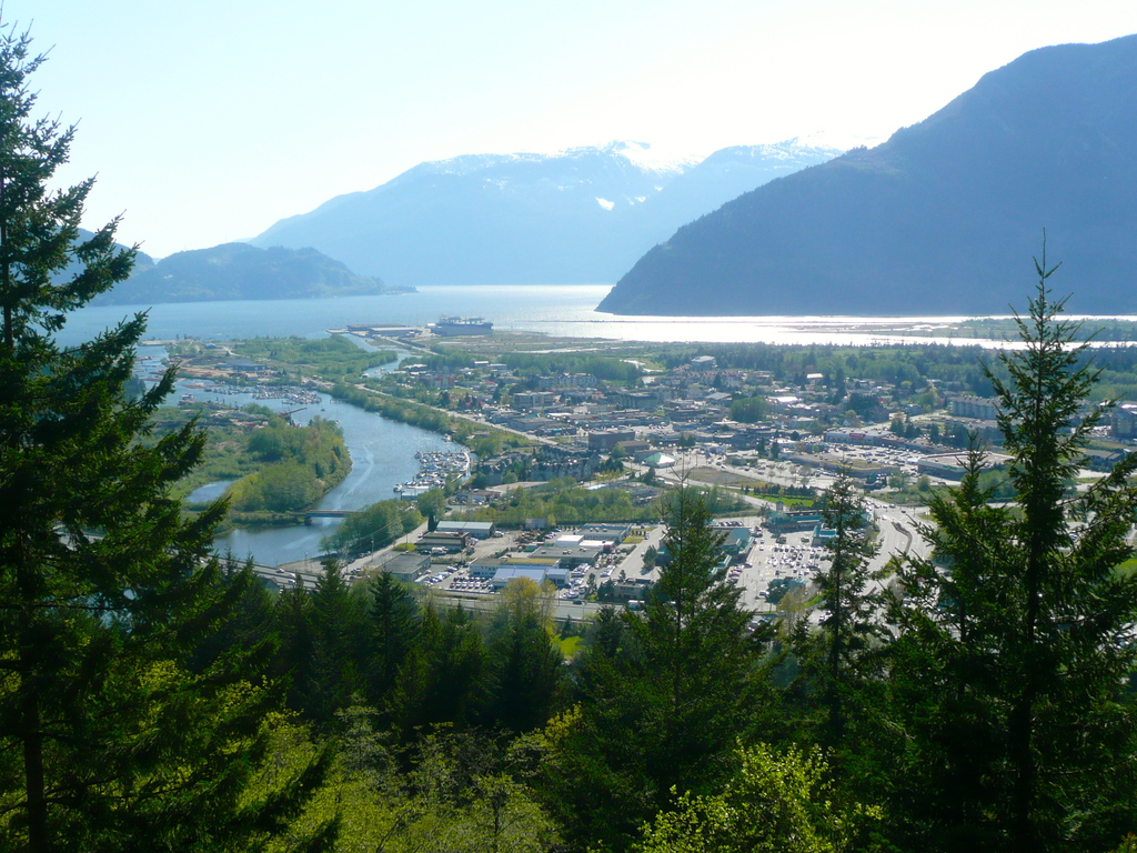 The town of Squamish sits at the northern tip of Howe Sound (Pacific Ocean).