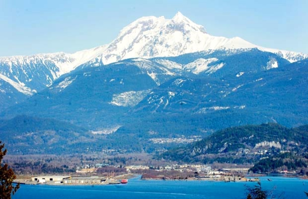 Mount Garibaldi towers over the town of Squamish.