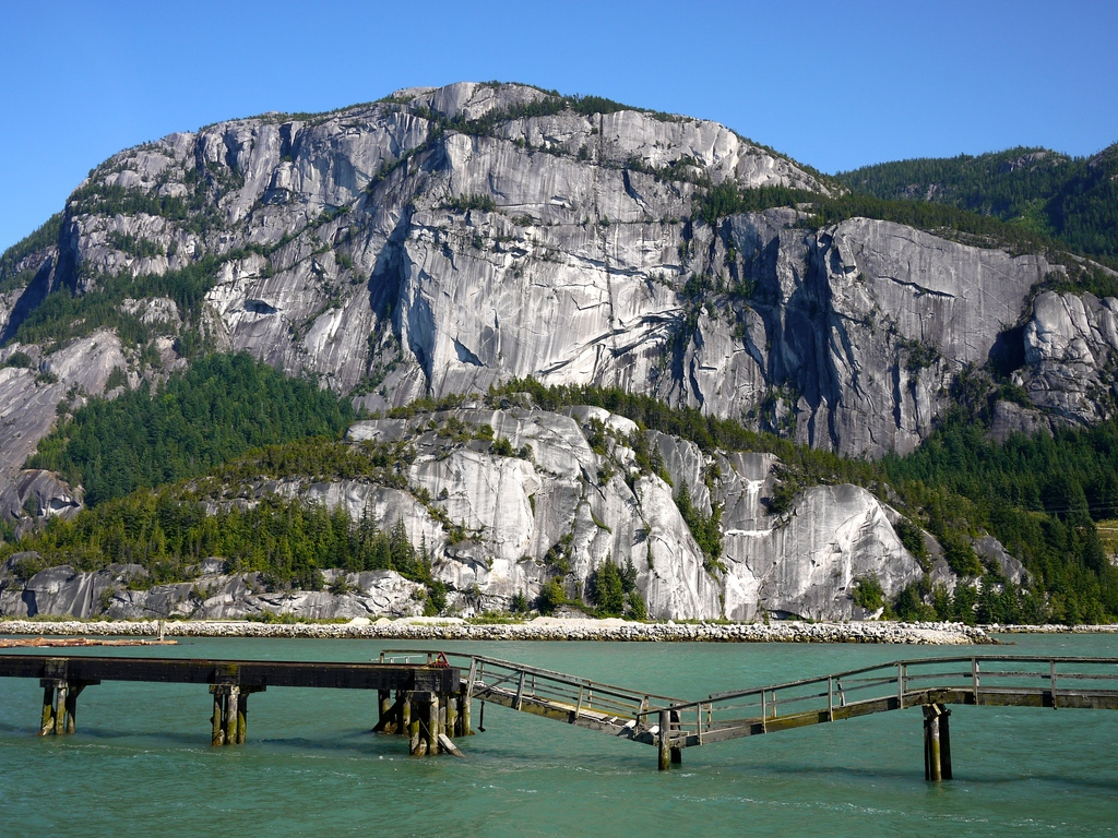 The Stawamus Chief is a huge granite monolith (second only to the Rock of Gibraltar) very popular with rock climbers.