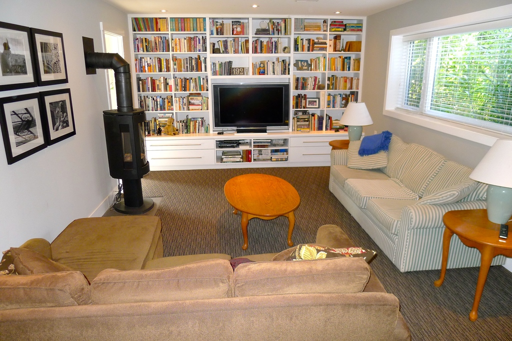 The TV room and library.