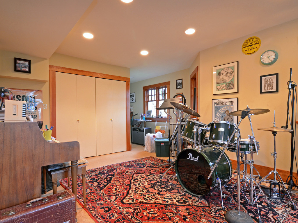 Downstairs music studio.