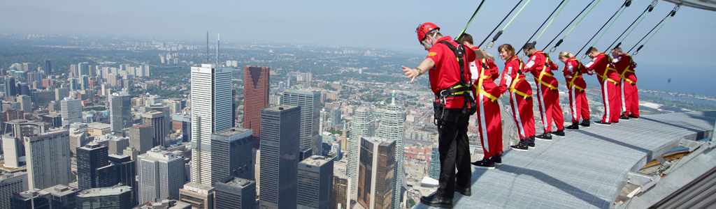"Toronto's iconic CN Tower is major tourist attraction.  A ""Skywalk"" has recently been added!"