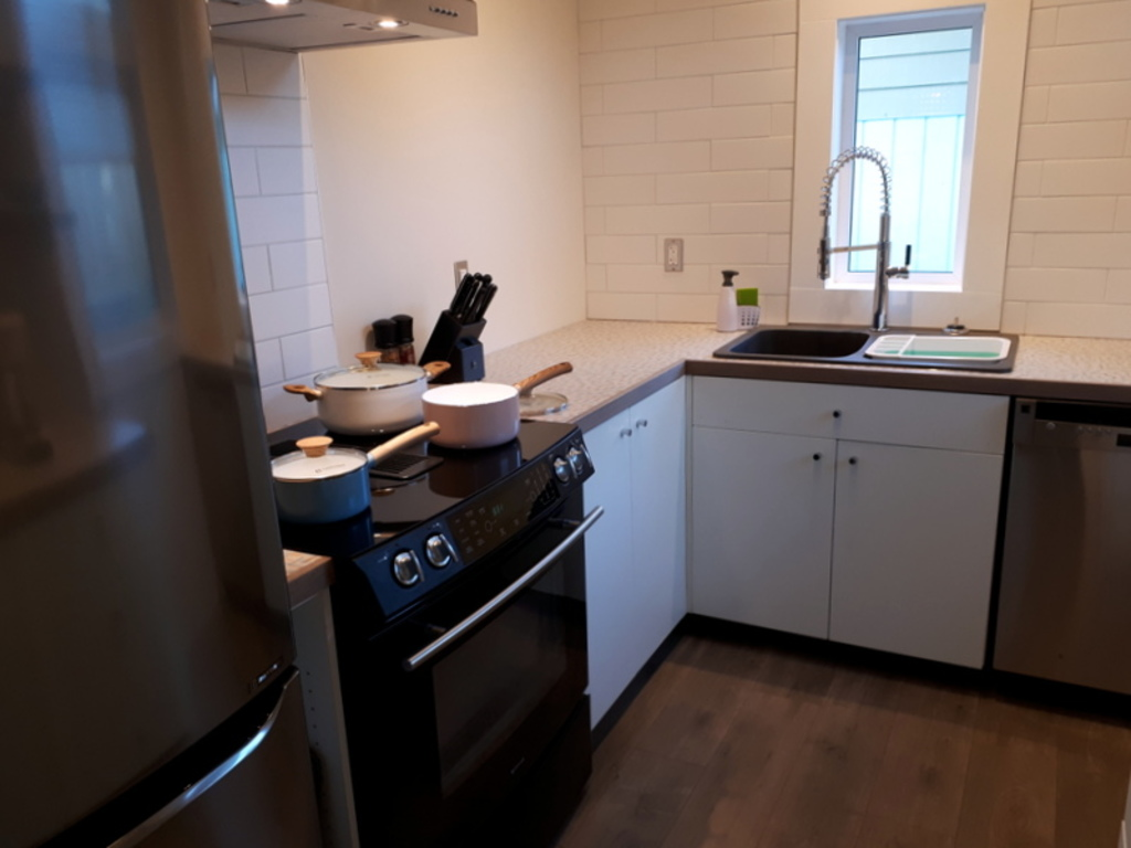 Guest house has a small, fully equipped kitchen.