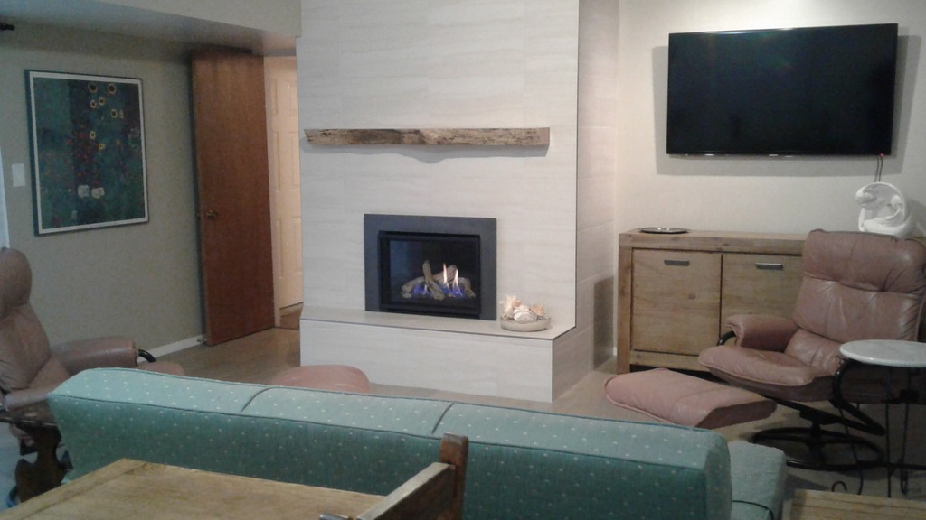 Downstairs TV room with gas fireplace