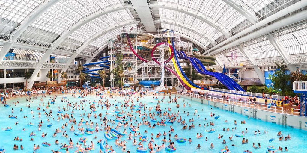 West Edmonton Mall - indoor wave park, indoor skating rink, casino, hotel, and... shopping.