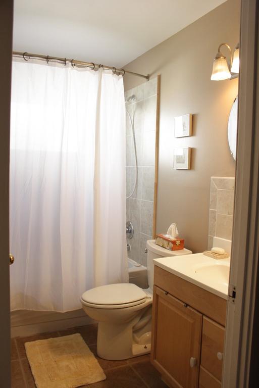 Main bathroom has a comfy bathtub and a shower.