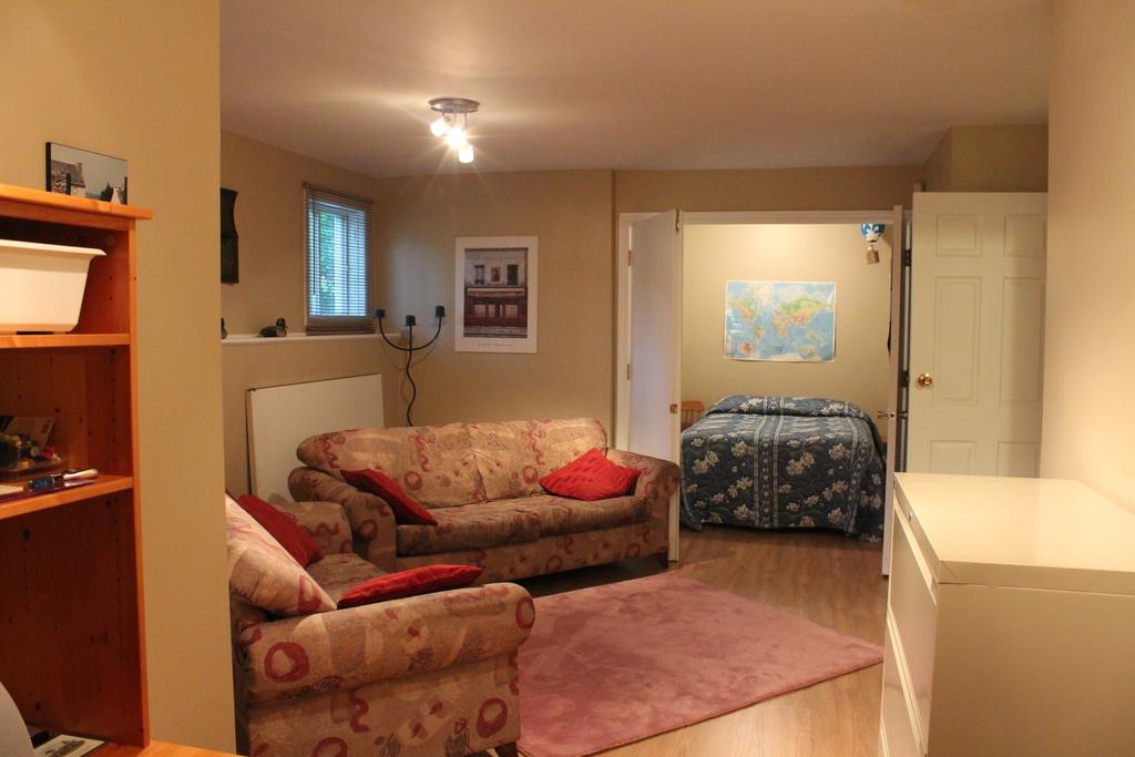 Le sous-sol: un lit double dans l'alcôve et un sofa-lit dans la salle principale