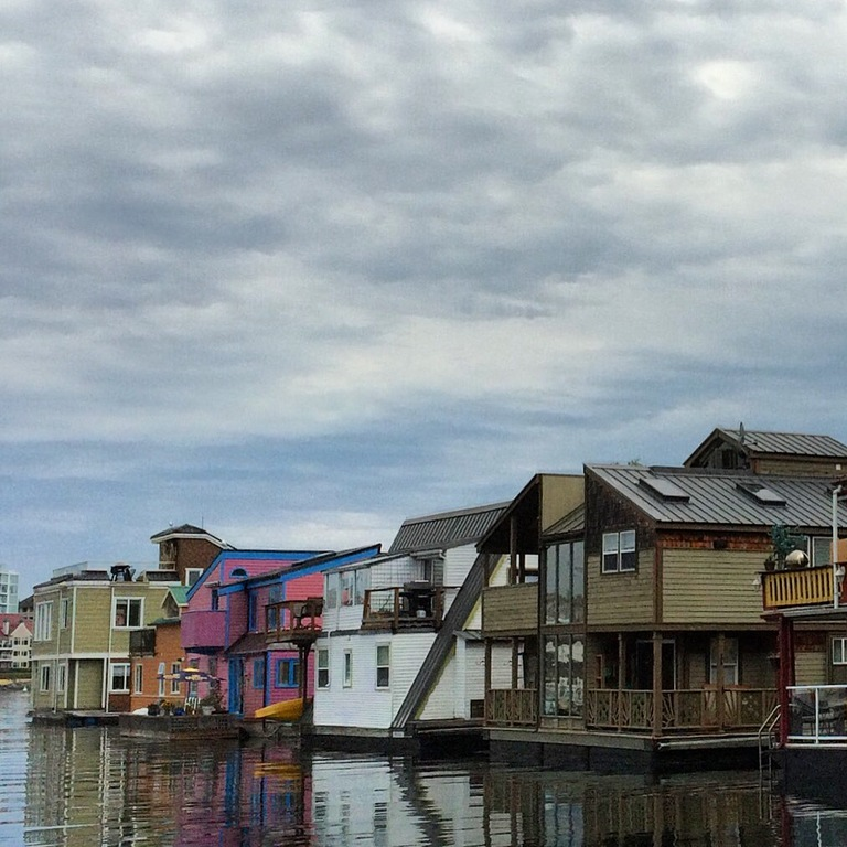 Houseboats at Fisherman's Wharf. Victoria Inner Harbour.