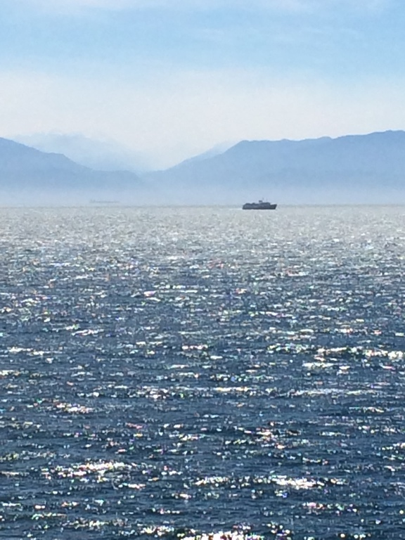 View across Juan de Fuca Strait (to USA) from Victoria