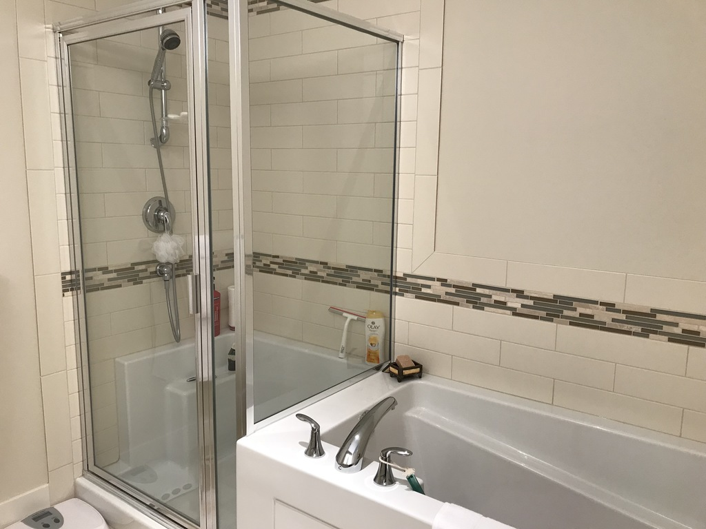 master ensuite bathroom with separate shower and bath tub