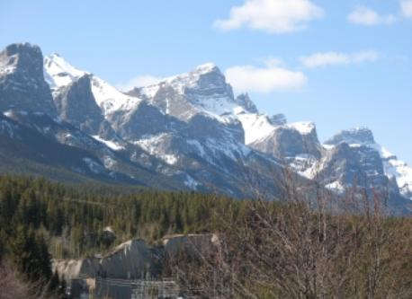 Mountain view from the roof top deck in Canmore