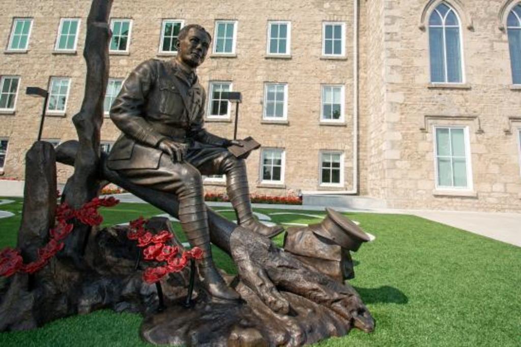 The statue of Lt. Col. John McCrae - by the Guelph Civic Museum