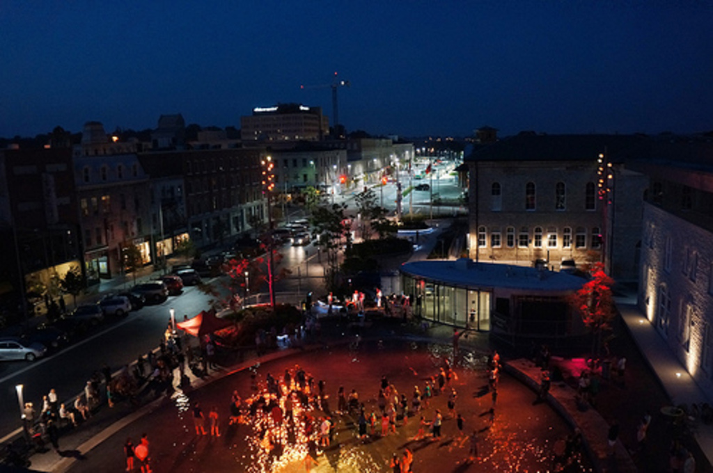 Market Square - Downtown Guelph - summer splash pad and night time activities