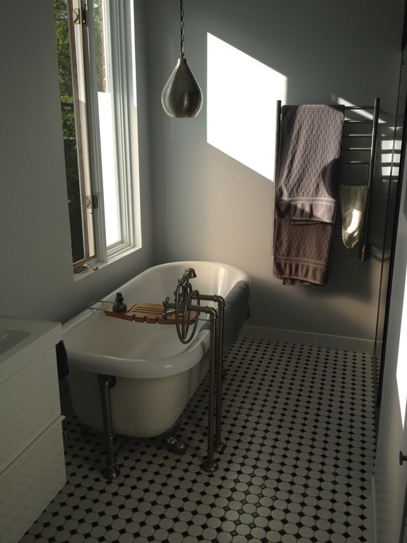 Recently renovated bathroom with claw foot tub