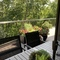 Rear deck - seating for 6. Looks out over ravine.  Lots of birdwatching.