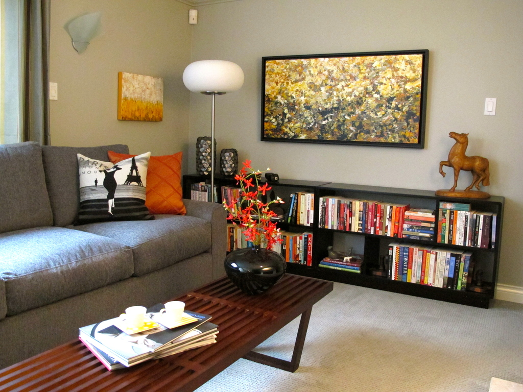 """Cozy family room next to the kitchen has 42"""" HD TV & gas fireplace"""