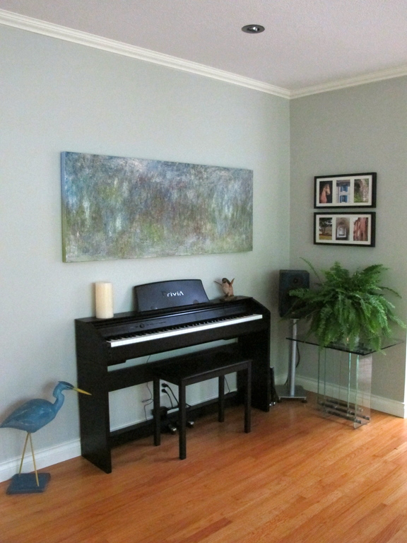 A new digital piano in the living room for our guests to enjoy