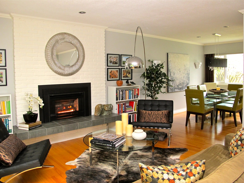 Elegant living room with gas fireplace