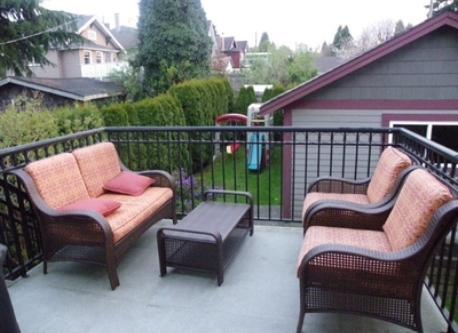 deck and backyard